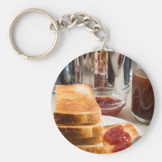Fried toast with strawberry jam keychain