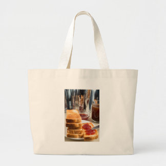 Fried toast with strawberry jam large tote bag