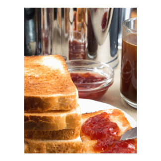 Fried toast with strawberry jam letterhead