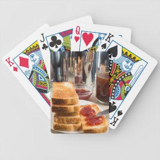 Fried toast with strawberry jam poker deck