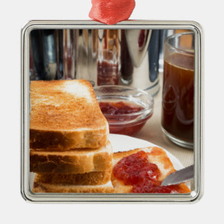 Fried toast with strawberry jam Silver-Colored square ornament
