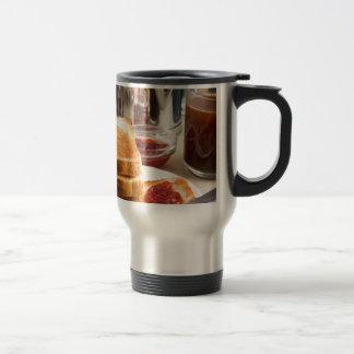 Fried toast with strawberry jam travel mug