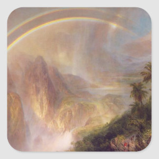 Friedrich Church Landscape painting Square Sticker