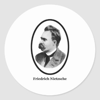 Friedrich Nietzsche  Black The MUSEUM Zazzle Gifts Round Sticker