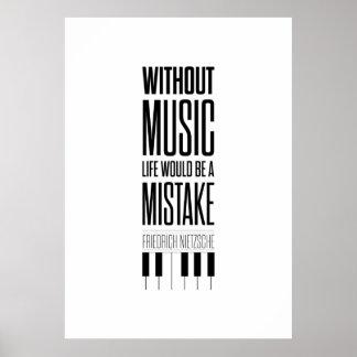 Friedrich Nietzsche Music Quote Poster