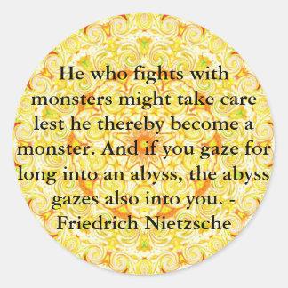 Friedrich Nietzsche - profound quotation Round Sticker