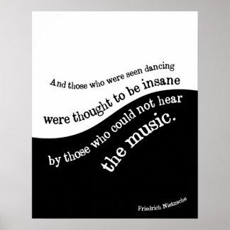 Friedrich Nietzsche quote poster Black and white