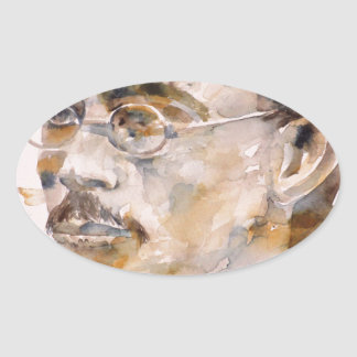 friedrich nietzsche - watercolor portrait.2 oval sticker
