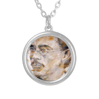 friedrich nietzsche - watercolor portrait.2 silver plated necklace