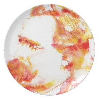 friedrich nietzsche - watercolor portrait.3 plate