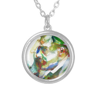friedrich nietzsche - watercolor portrait.4 silver plated necklace