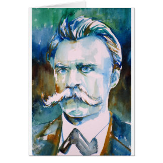 friedrich nietzsche - watercolor portrait card