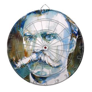 friedrich nietzsche - watercolor portrait dartboard