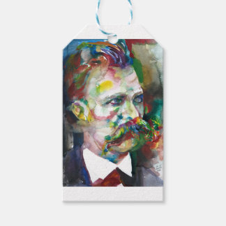 friedrich nietzsche - watercolor portrait gift tags