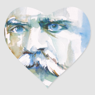friedrich nietzsche - watercolor portrait heart sticker