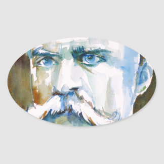 friedrich nietzsche - watercolor portrait oval sticker