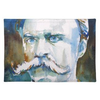 friedrich nietzsche - watercolor portrait placemat