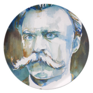 friedrich nietzsche - watercolor portrait plate