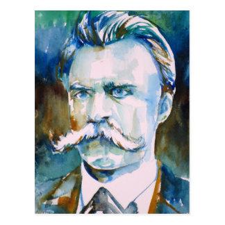 friedrich nietzsche - watercolor portrait postcard