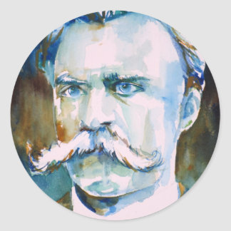 friedrich nietzsche - watercolor portrait round sticker