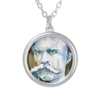 friedrich nietzsche - watercolor portrait silver plated necklace