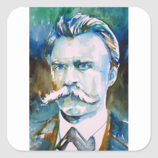friedrich nietzsche - watercolor portrait square sticker