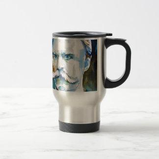 friedrich nietzsche - watercolor portrait travel mug