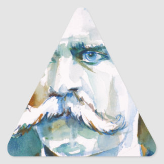 friedrich nietzsche - watercolor portrait triangle sticker