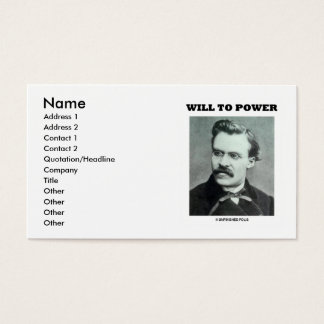 Friedrich Nietzsche Will To Power Business Card