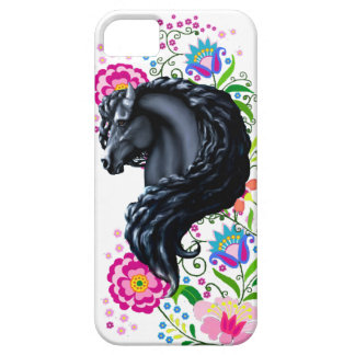 Frieisan stallion, folk flowers iPhone 5 case