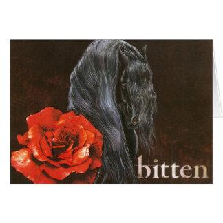 """Frieisian Horse """"Bitten"""" Card"""