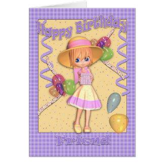 Friend Birthday Card - Cute Little Girl