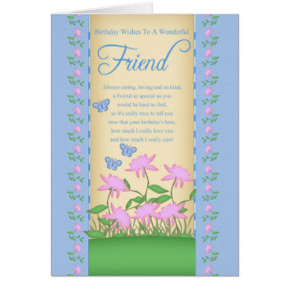 friend birthday card flowers and butterflies