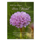 friend birthday card with pink pom pom flower