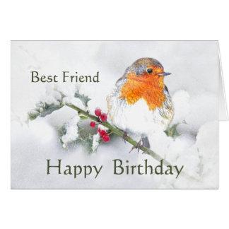 Friend Birthday English Robin Pretty Garden Bird Card