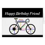 Friend Birthday Motivational Bike Bicycle Cycling Greeting Card