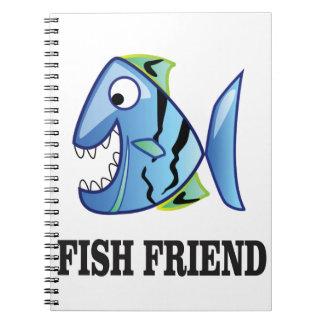 friend fish yeah spiral notebook