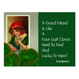 Friend Four Leaf Proverb St Patricks Day Postcards