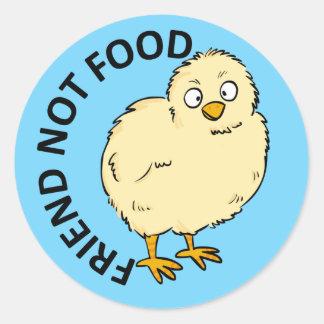 Friend Not Food Vegan Chicken Classic Round Sticker