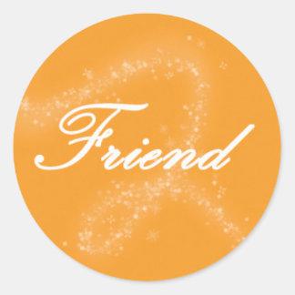 Friend on an Orange Background Round Sticker