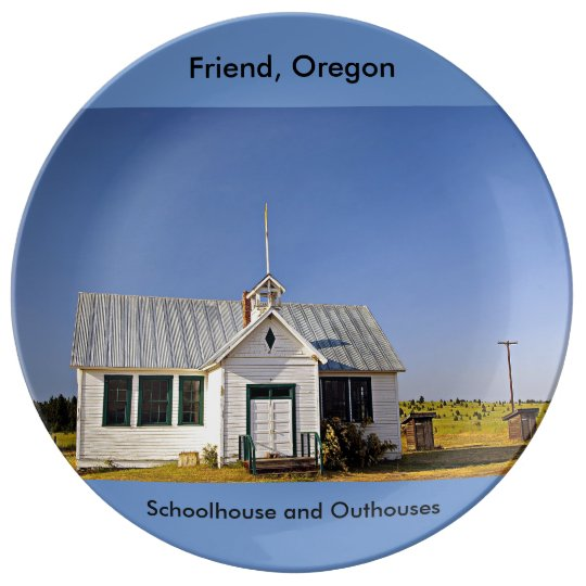 Friend, Oregon Schoolhouse and Outhouses Porcelain Plate