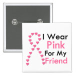 Friend Pink Ribbon Breast Cancer Buttons