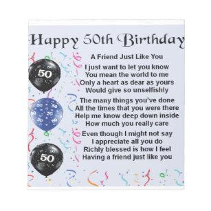 Friend Poem 50th Birthday Notepad