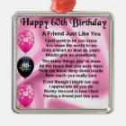 Friend poem - 60th Birthday Metal Ornament