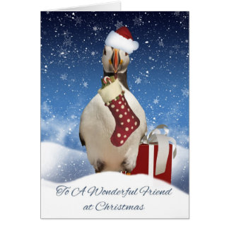 Friend Puffin Christmas Greeting Card