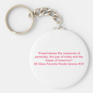 """""""Friend shares the memories of yesterday, the j... Basic Round Button Keychain"""