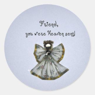Friend, you were Heaven sent! Classic Round Sticker