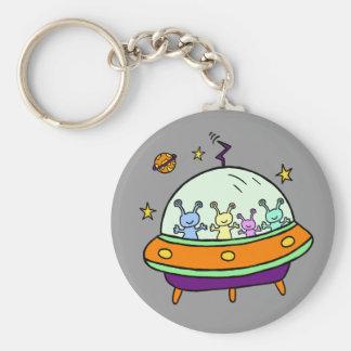 Friendly Aliens Basic Round Button Keychain