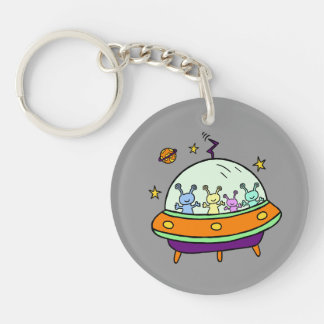 Friendly Aliens Double-Sided Round Acrylic Keychain