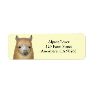 Friendly Alpaca Face Label Return Address Label